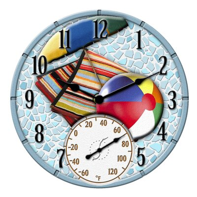Mosaic Beach Scene Clock with 14