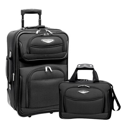 Traveler's Choice Amsterdam 2 Piece Carry-On Luggage Set in Grey
