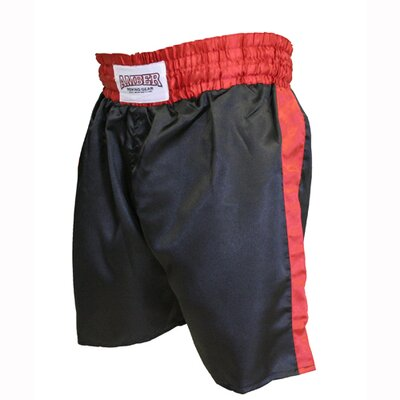 Amber Sporting Goods Boys Boxing Shorts in Black with Red Trim