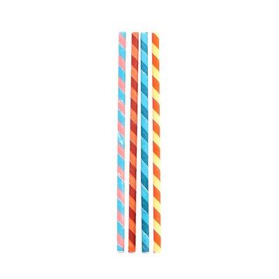Box of 144 Color Stripes Paper Straws