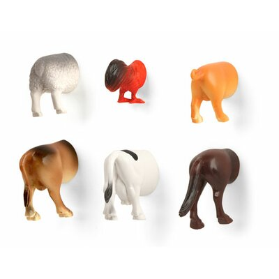 Kikkerland Animal Butt Magnets (Set of 6)