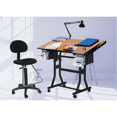 Martin Universal Design Creation Station Melamine Drafting Table with Chair