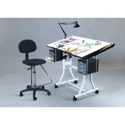 Martin Universal Design Weber Creation Station Melamine Drafting Table with High Chair