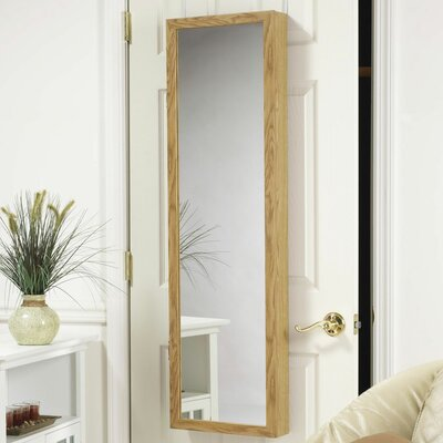 Mirrotek Over the door jewelry Armoire Mirror in Oak
