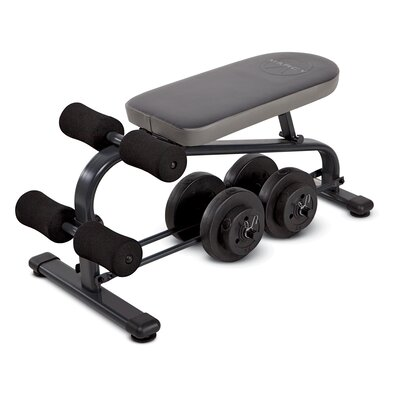 Marcy Crunch Board Adjustable Ab Bench with 40 lb Vinyl Dumbbell Set