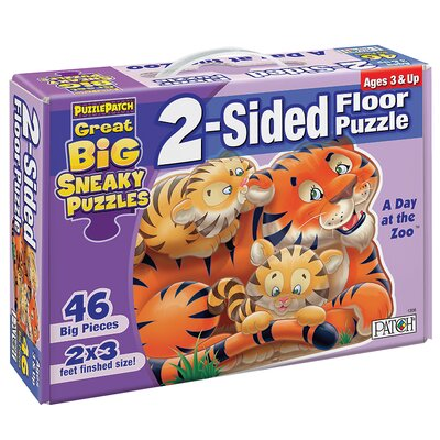 2 - Sided Sneaky Floor Puzzle - A Day at the Zoo