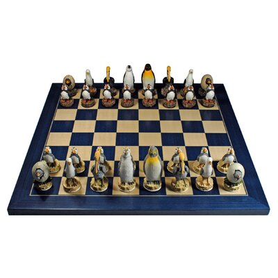 Wood Expressions Sea Bird Chess Set in Blue Board