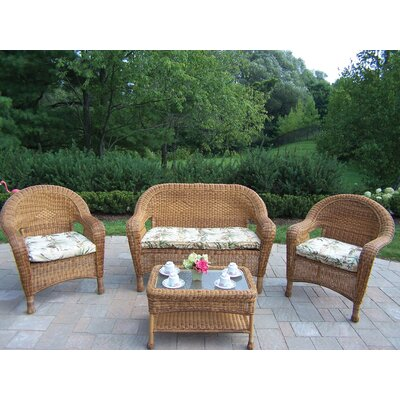 Oakland Living Resin Wicker 4 Piece Lounge Seating Group