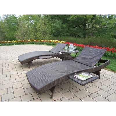 Elite Resin Wicker Three Piece Chaise Lounge Set