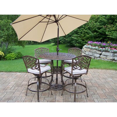 Oakland Living Elite Mississippi Swivel Bar Set with Cushions and Umbrella