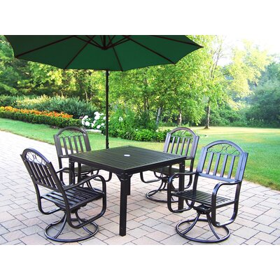 Oakland Living Rochester Swivel Dining Set with Umbrella
