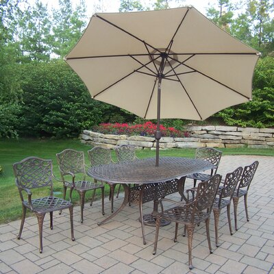 Oakland Living Mississippi Oval Dining Set with Umbrella