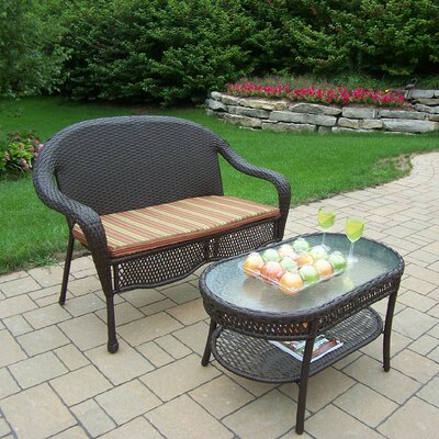 Oakland Living Elite Resin Wicker 2 Piece Lounge Seating Group