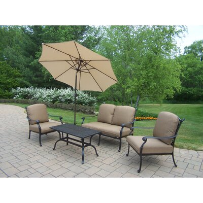 Oakland Living Hampton Chat Set with Umbrella