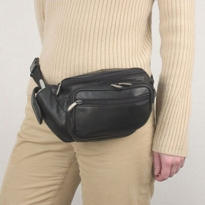 Travelon Black Leather Waist Pack with Organizer