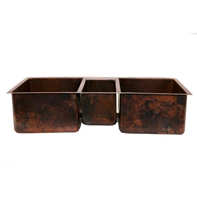 "Premier Copper Products 42"" Copper Hammered Triple Bowl Kitchen Sink in Oil Rubbed Bronze"