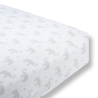 Elephant and Chickies Cotton Fitted Crib Sheet