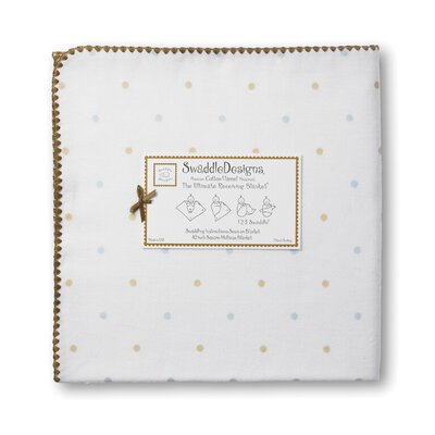 Swaddle Designs Ultimate Receiving Blanket® in Pastel Little Dots with Mocha Trim