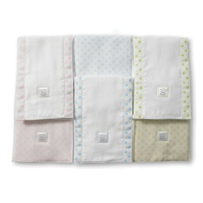 Swaddle Designs Baby Burpies® in Pastel with Pastel Polka Dots and Trim (Set of 2)