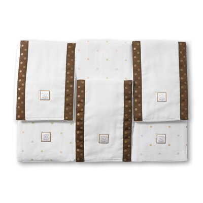 Swaddle Designs Baby Burpies® in Pastel Little Dots with Mocha Trim (Set of 2)