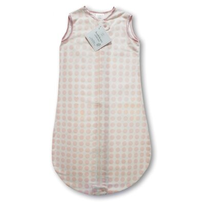 Swaddle Designs Certified Organic Cotton Flannel zzZipMe Sack in Pastel Pink with Dots and Stars