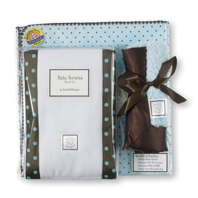 Swaddle Designs 3 Piece Gift Set in Pastel with Brown Dots