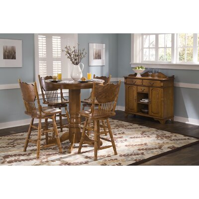Nostalgia Casual Dining Round Pub Table in Medium Oak