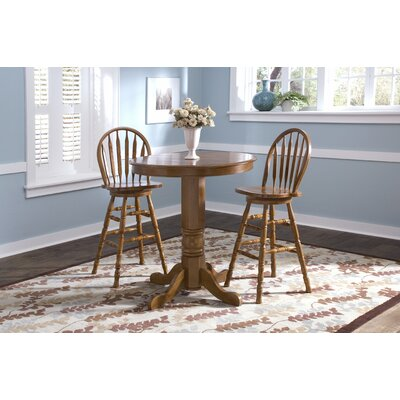 Liberty Furniture Nostalgia Casual Dining 3 Piece Round Pub Table Set with Arrow Back Barstools in Medium Oak