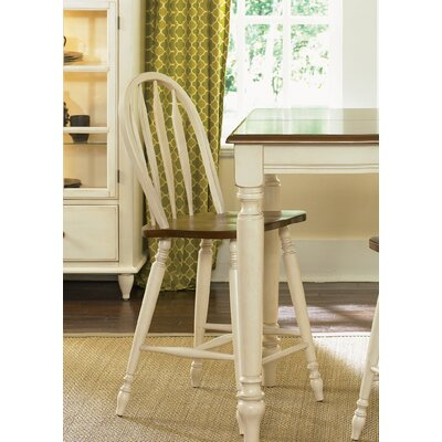 Liberty Furniture Low Country Dining Windsor Back Barstool in Linen Sand and Suntan Bronze