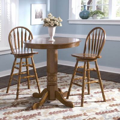 Liberty Furniture Nostalgia Casual Dining Round Pub Table in Medium Oak