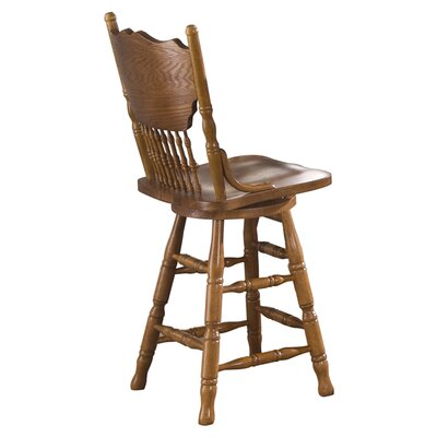 Liberty Furniture Nostalgia Casual Dining Press Back Barstool in Medium Oak