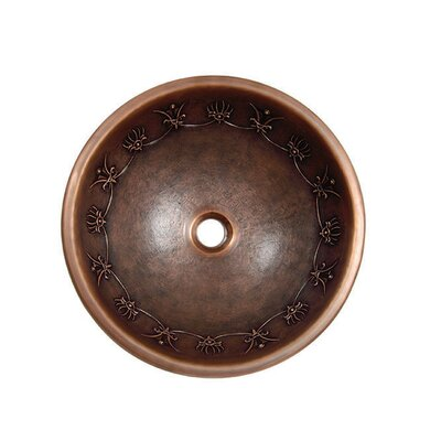 Yosemite Home Decor Contemporary Tribal Design Topmount Round Copper Vessel Sink
