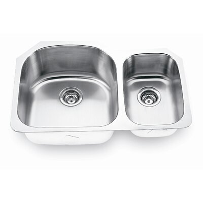 Yosemite Home Decor Stainless Steel Undermount Double Bowl Kitchen Sink with Small Right Bowl