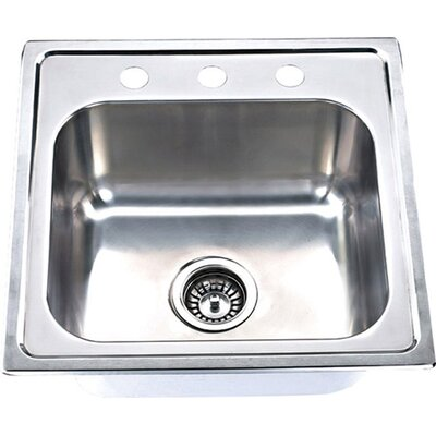 "Yosemite Home Decor 20"" x 20"" Topmount Single Bowl Bar Sink"