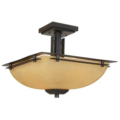 Yosemite Home Decor Half Dome 2 Light Semi Flush Mount