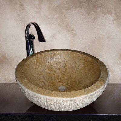 Yosemite Home Decor Maci Hand Carved Round Vessel Bathroom Sink