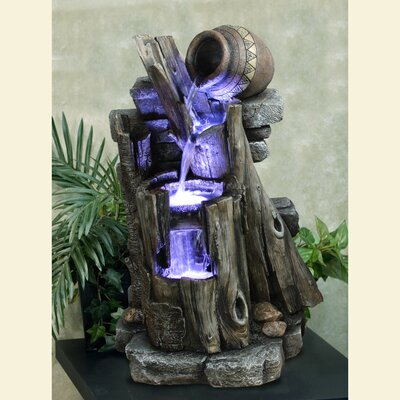 Yosemite Home Decor Three-Tiered Steps with Vase Fountain