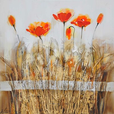 Poppies in the Field Red I Canvas Art