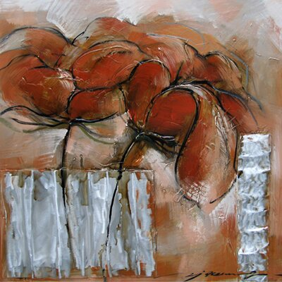Yosemite Home Decor Contemporary & Abstract Art Wilted Red Flowers Original Painting on Canvas