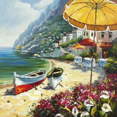 Revealed Artwork European Shoreline Original Painting on Canvas