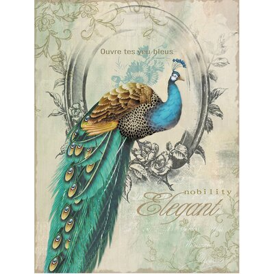 Yosemite home decor peacock poise i graphic art on canvas for Home decorations peacock