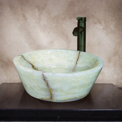 Yosemite Home Decor Carter Hand Carved Round Vessel Bathroom Sink