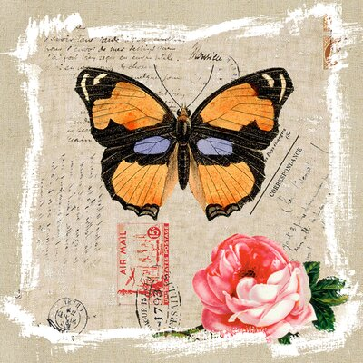Revealed Artwork Butterfly and Rose II Canvas Wall Art