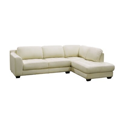 Zen Right Leather Chaise Modular Sectional