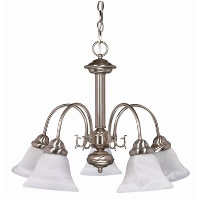 Ballerina 5 Light Chandelier with Alabaster Bell Glass