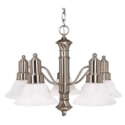 Gotham 5 Light Chandelier with Alabaster Glass