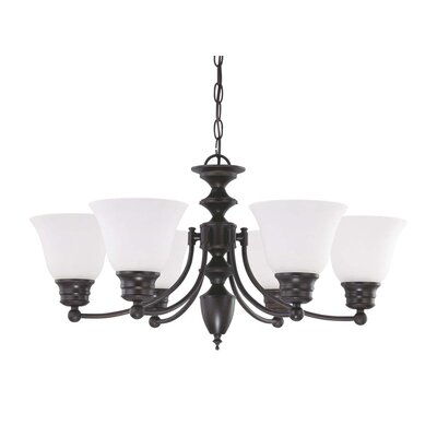 Nuvo Lighting Empire 6 Light Chandelier with Frosted Glass