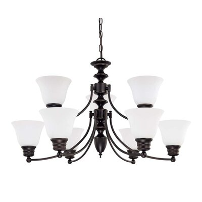 Nuvo Lighting Empire 9 Light Chandelier with Frosted Glass