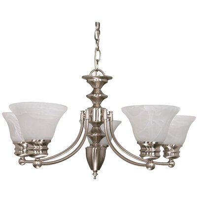 Nuvo Lighting Empire 6 Light Chandelier with Alabaster Bell Glass
