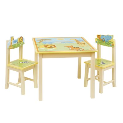 Savanna Smiles Kids 3 Piece Rectangle Table and Chair Set
